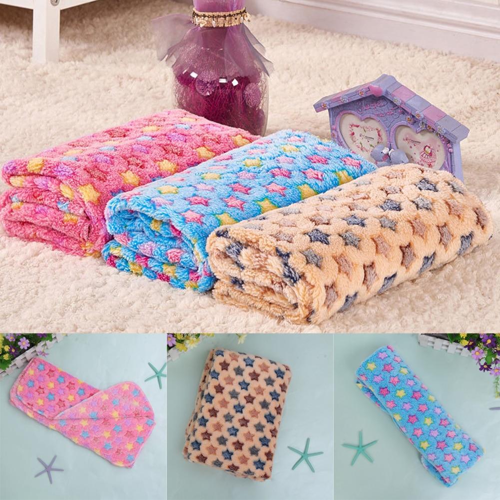 Meleg kisállat mat csillagok Nyomtatás macska kutya kölyök gyapjú meleg bőrbarát puha takaró ágy párna 3 méret rózsaszín kék barna gatos Mats