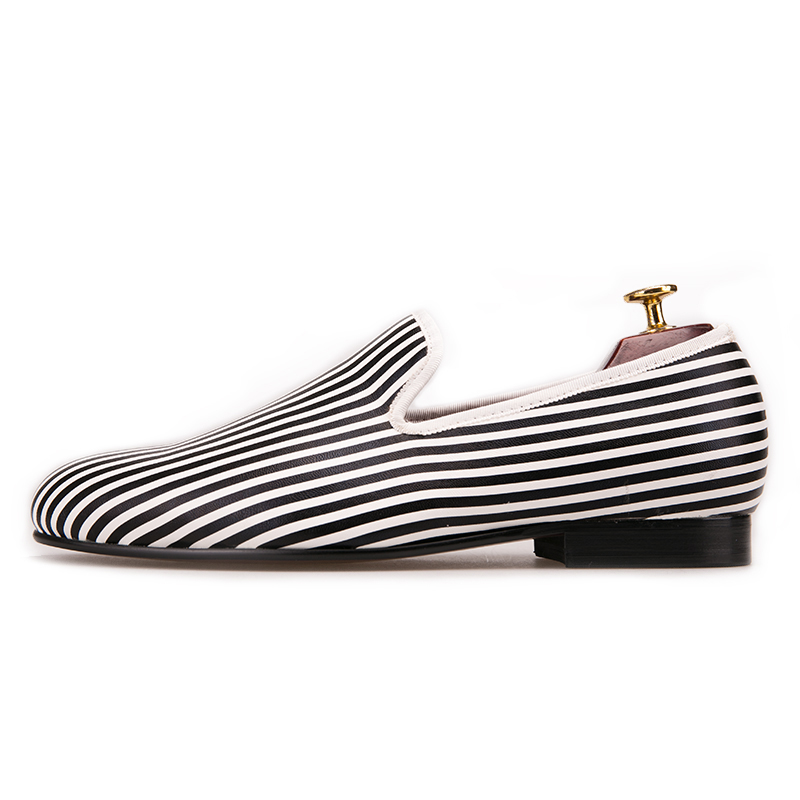 Black and white Striped printing men loafers wedding and party men's smoking slippers  1