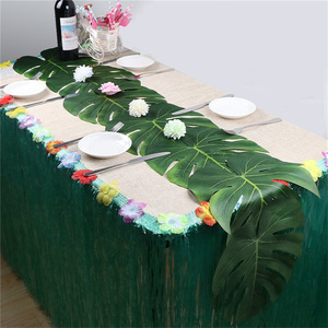 Image 3 - Vintage Wedding Decoration Table Cloth Supplies 12pcs/lot Fabric Green Artificial Palm Leaves Hawaiian Theme Party Decorations,Q