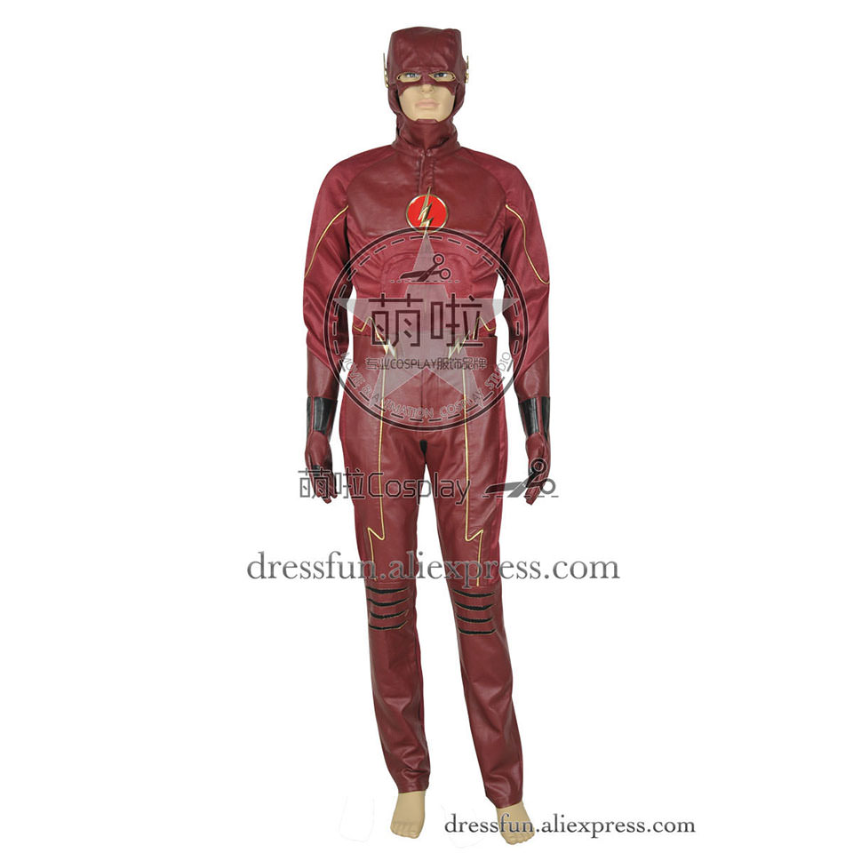 The Flash Cosplay Barry Allen Costume Full Set Red Leather Uniform New Outfits Suit Halloween Fashion Party Fast Shipping
