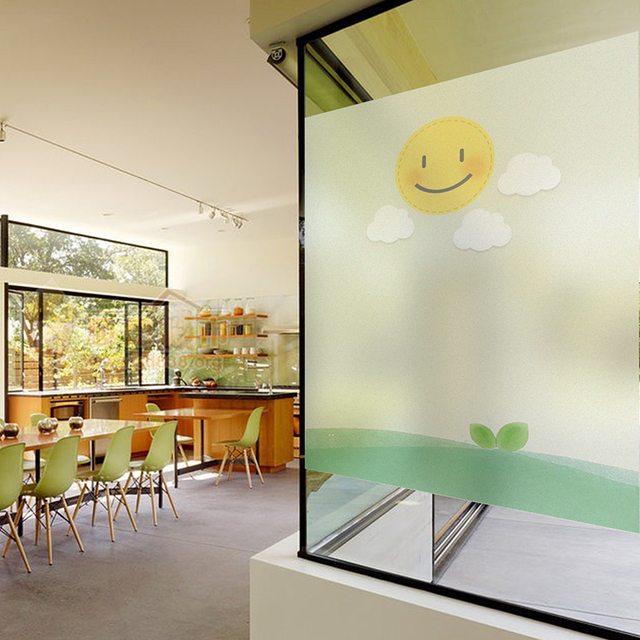 Opaque Electrostatic Film Frosted Glass Film Smile Sun Window Paper