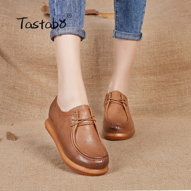 Tastabo 2019 Leather women shoes retro handmade shoes Genuine leather shoes Casual pump shoes platform wedges
