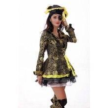 Hembra adulta Mar Cruel Capitán Buccaneer Pirata de Oro Cosplay Traje de la Mujer Sexy Ropa de Halloween de Disfraces Envío gratuito