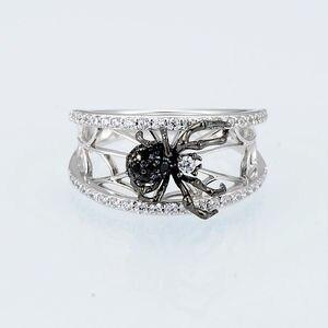 Image 3 - SANTUZZA bague en argent pour les femmes véritable 925 en argent Sterling anneaux uniques délicat noir araignée anneau à la mode fête bijoux de mode