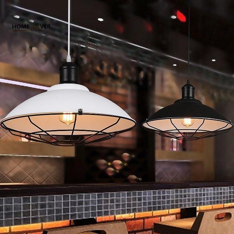 Loft vintage pendant lights Iron Kitchen Home Decoration E27 Edison bulb lampara colgante black painted pulley pendant light