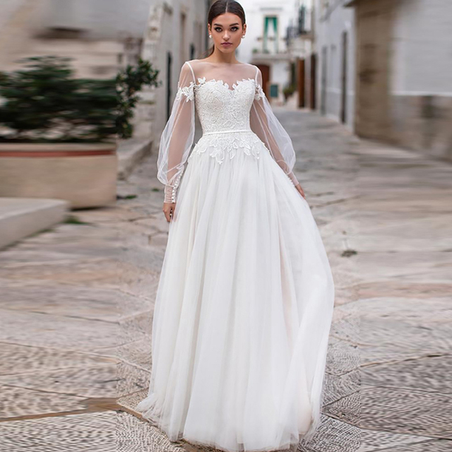 Sexy Sheer Neckline Wedding Dresses Bohemian Puff Long Sleeves Appliques Lace Wedding Gowns Buttongth Vestido De Noiva for Bride 2