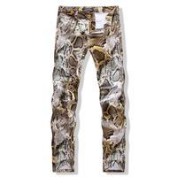 מכנסיים הדפסת האופנה הגברים Slim פו פייתון נחש אישיות של גברים מכנסיים אמצע מותניים תוספת גודל זכר מגמת פאנק באיכות גבוהה Homme