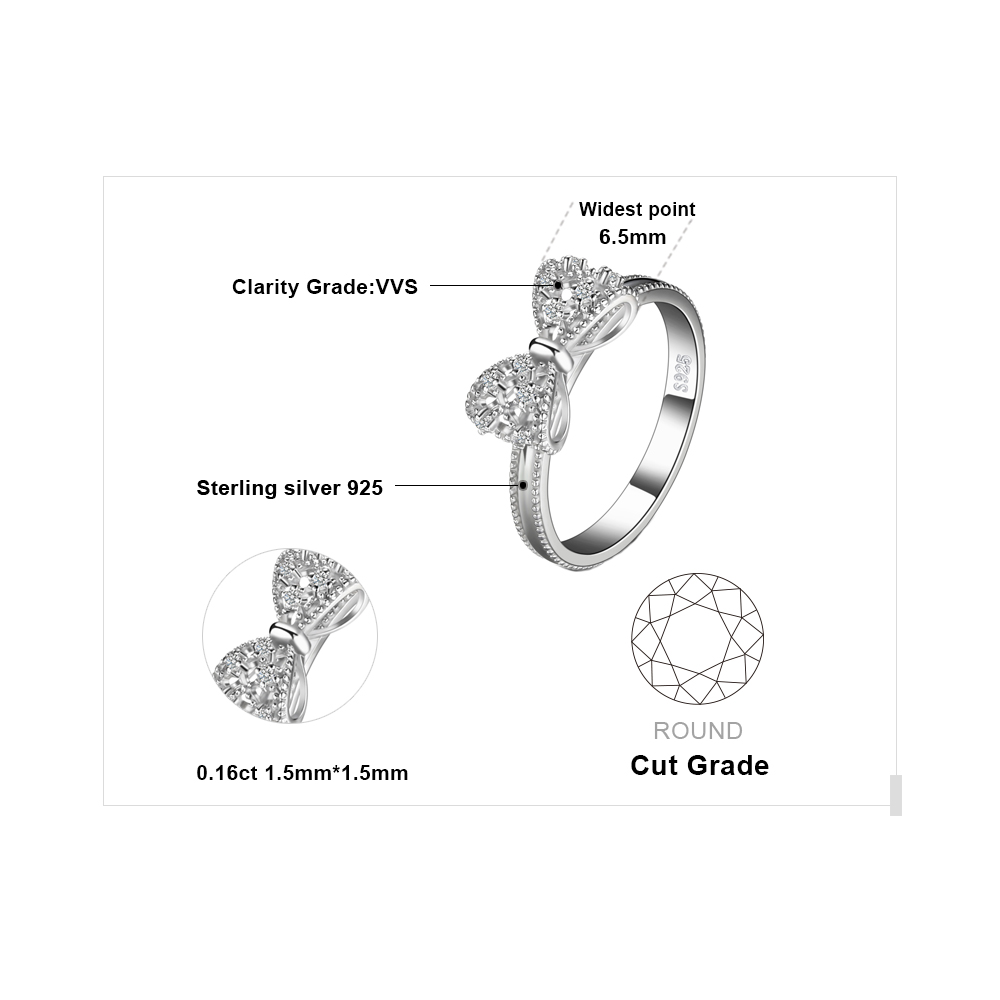 JewelryPalace Bow Anniversary Wedding Ring For Women Soild 925 Sterling Silver Jewelry For Girl Party Friend Gift 4