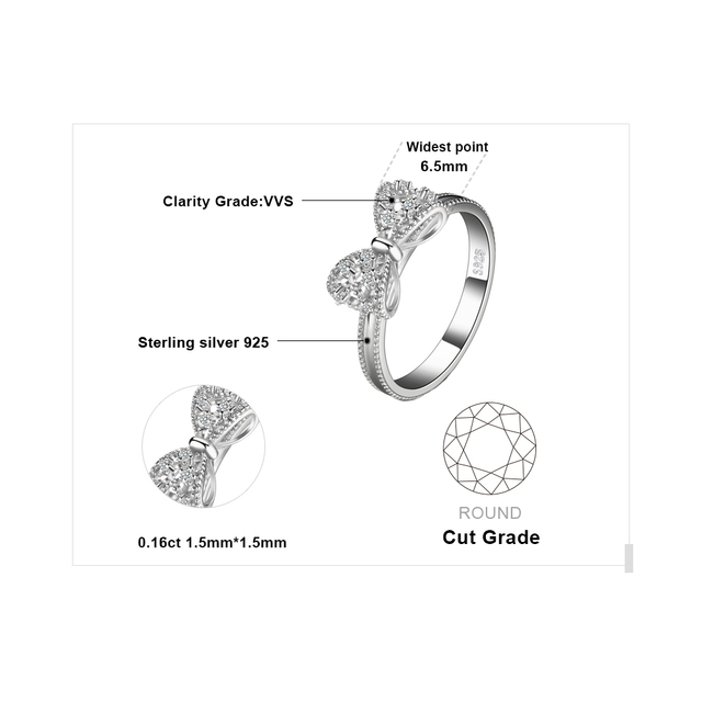 JewelryPalace Bow knot Anniversary Cubic Zirconia Rings 925 Sterling Silver Rings for Women Silver 925 Jewelry Fine Jewelry 4