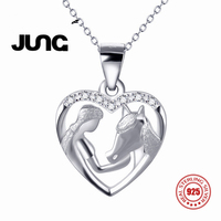 Fashion AAA Zircon Girl Horse Cute Charm 925 Sterling Silver Jewelry Delicate Chain Pendant Necklace Women