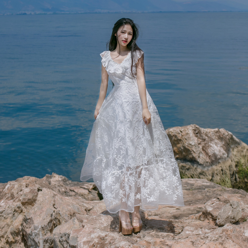 Halter hook flower hollow lace dress great long dress women s clothing