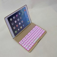 Ultra Slim Shell Aluminium Wireless Bluetooth Keyboard Case Cover With 7 Color Backlight For Apple IPad