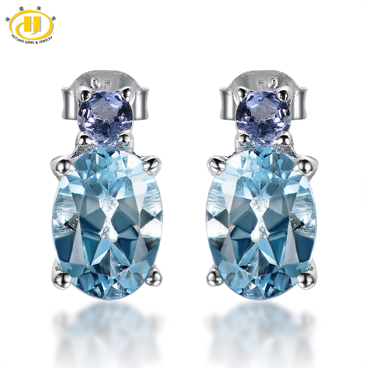 Hutang Natural Blue Topaz & Tanzanite Stud Earrings Solid 925 Sterling  Silver Gemstone Fine Jewelry Women's