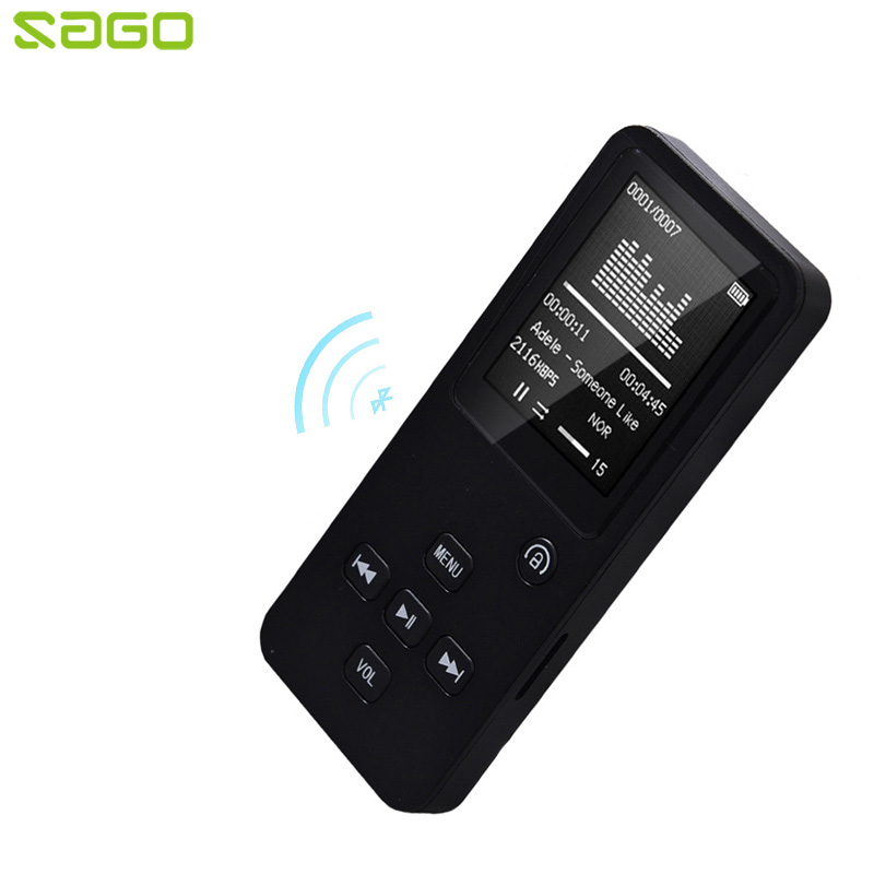 Sago Bluetooth MP3 Music Player with 1.8 TFT Screen HIFI Lossless Music Support FM Radio TF Card 4GB 8GB 16GB 32GB 5 colors onn q2 ultra slim 1 5 tft screen sporting mp4 player w fm white 4gb