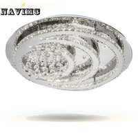 New Round K9 Crystal LED Chandelier Ceiling Light Living Room Bedroom Modern Lighting Dia600 H300mm