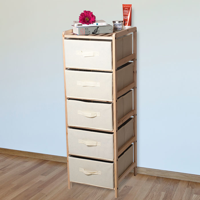 Lavish Home Organization Wood Fabric Five Drawer Unit with Shelf Top