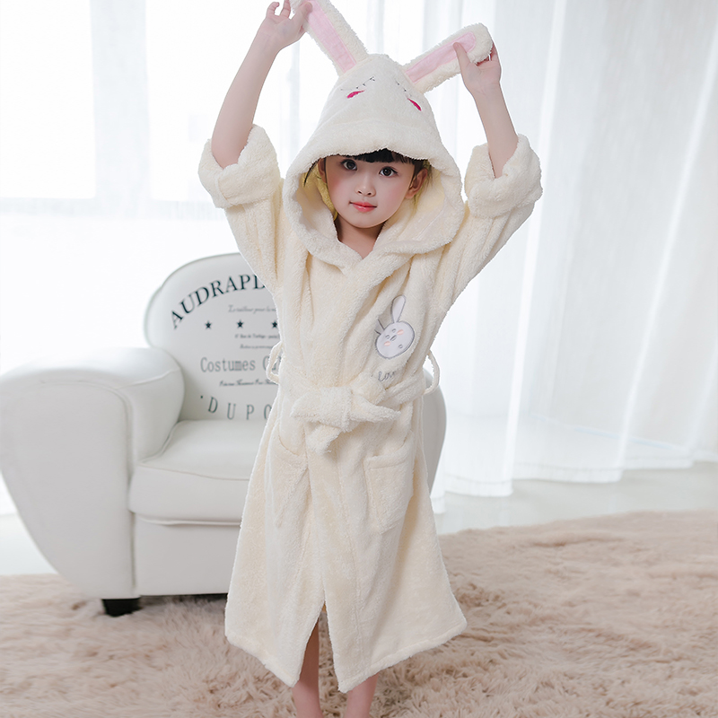 Winter rabbit bathrobe baby girls warm dressing gown kids animal bathrobe children bathgrowns bathrobes rabbit hooded bath robe for girls