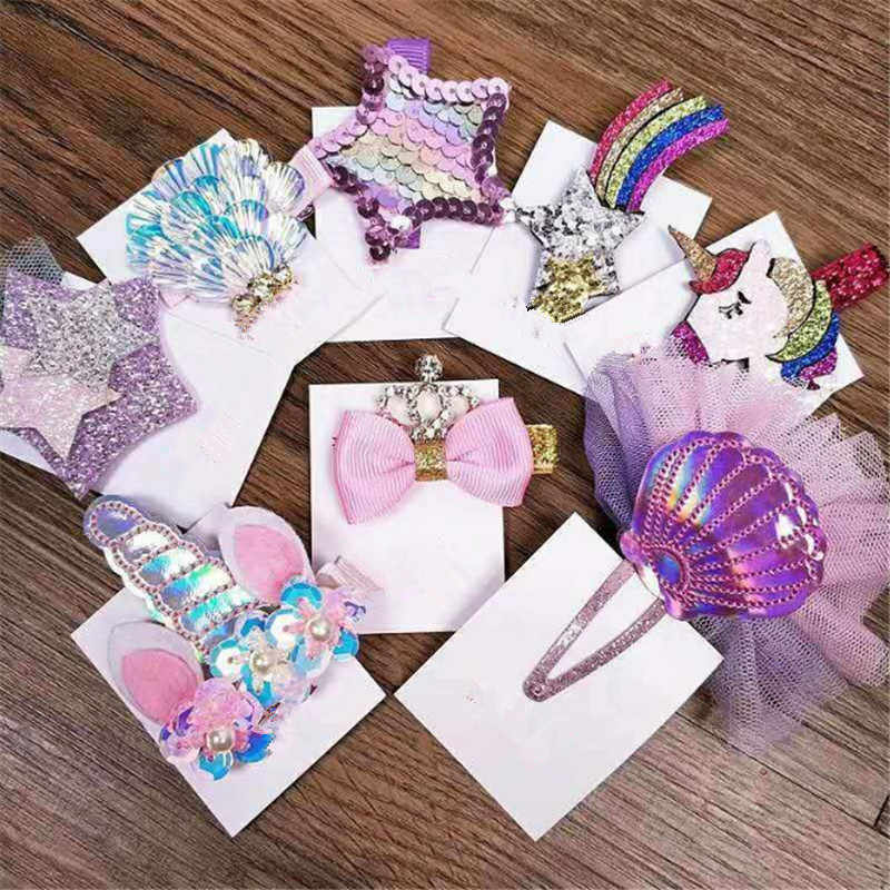 10pcs/lot Sequins Cartoon Unicorn Flowers Kid Hair Clips Boutique Crystal Star Bowknot Crown Hair  Hairpin Girl Hair Accessories