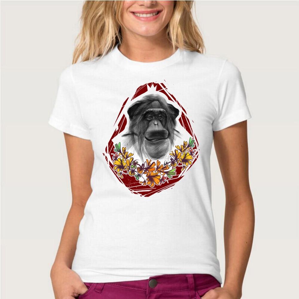 Desain t shirt unik - Desain T Shirt Unik Unik Desain Sketsa Monyet Cetak T Shirt Wanita Lengan Pendek T