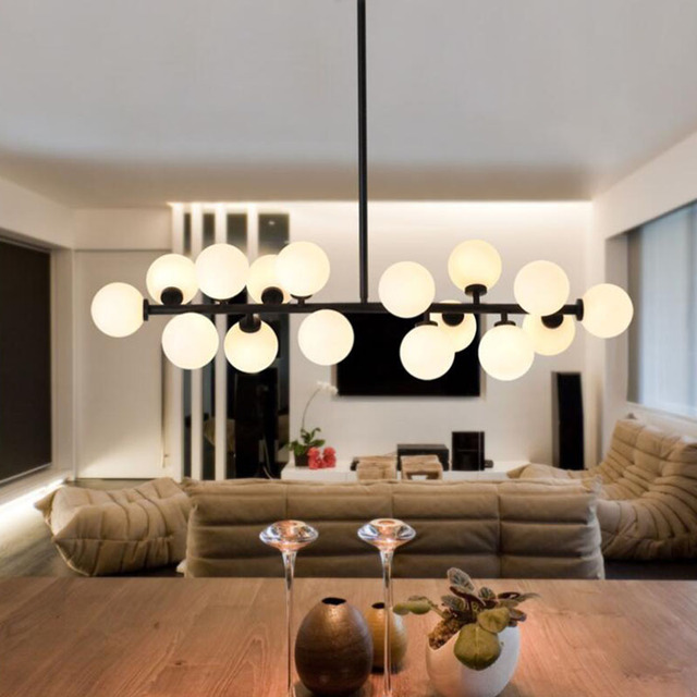 [DBF]16 Gold/Black Magic Bean LED Pendant Light For Shop Modern Glass