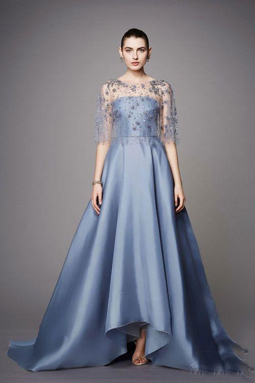 f323c11eae Marchesa Evening Dresses Fashion Strapless Floor length Watteau train Satin Celebrity  dress with cape Lace Beaded