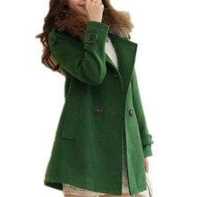 2016 New Winter Fashion Women Woolen Jacket  Removable Fur Collar Warm Double-breasted Slim Wool Coat Outerwear A1468