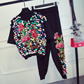 new spring and summer 2017women stand heavy flower embroidered with sequins sweater Haren feet pants suit