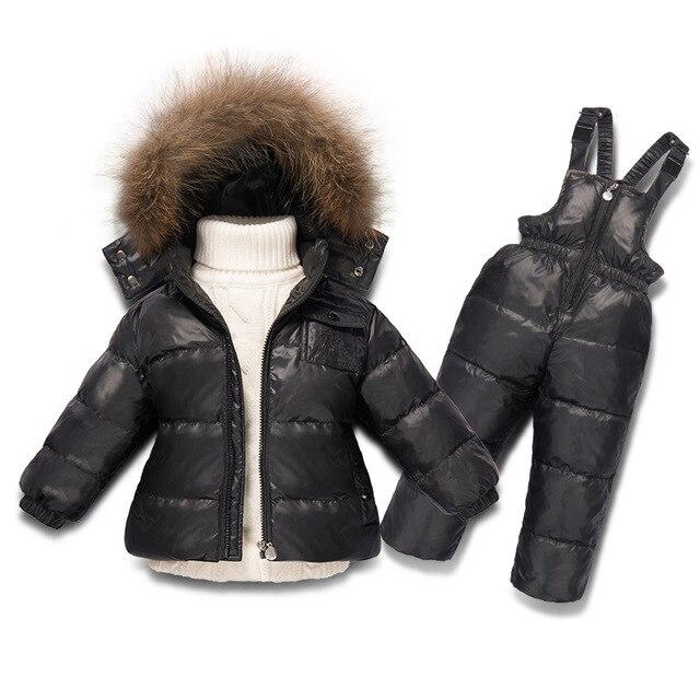 US $85.5 |Kinderen jongen winter kleding voor meisje snowsuit skiën down set 1 7 jaar bont jas overalls pak meisjes sets peuter kid kostuum in