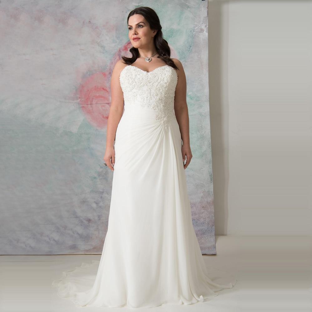 Simple White Ivory Chiffon Beach Wedding Gowns Hochzeitskleid Vestidos de Novia 2019 Appliqued Plus Size Bride