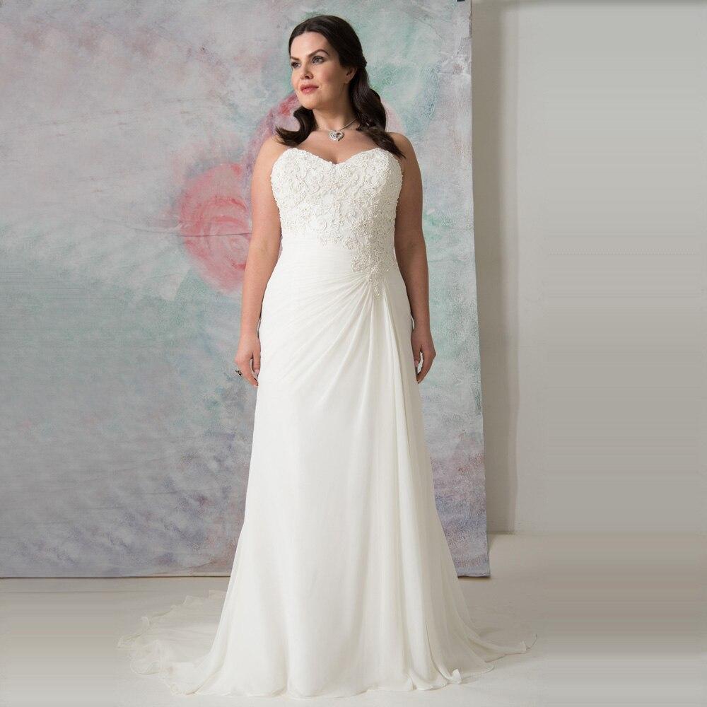 Simple White/Ivory Chiffon Wedding Gowns Hochzeitskleid Vestidos De Novia Appliqued Sheath Plus Size Bride Dress Customized