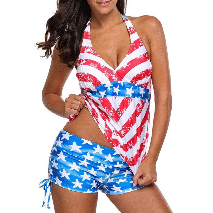 2018 New USA American Flag Print Swimwear Body Suits Women Sexy Swimsuit  Bikinis Set Trikini Beach Bathing Suit Tankini 4N cd91d5d116b2