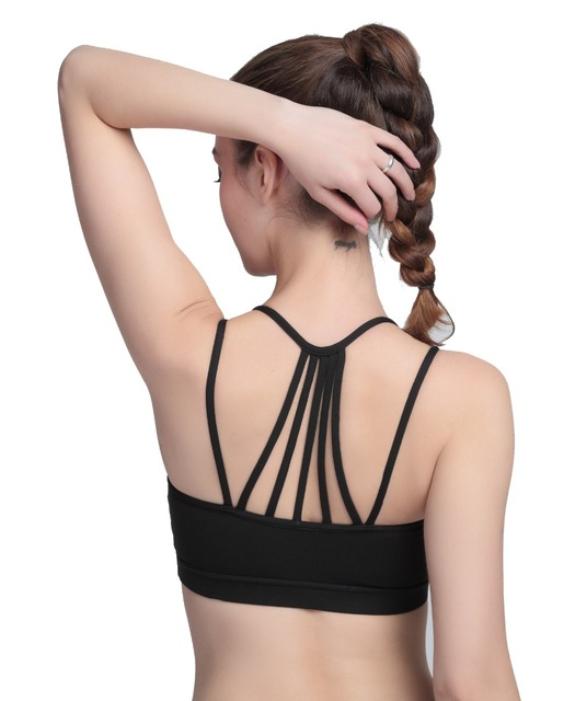 4color Strappy Top Solid Color Crop Top  Padded Vest  Push Up Tank Tops Brassiere  Women Female Bra