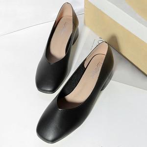 Image 4 - 2020 new arrive women pumps High quality Soft leather square toe fashion single shoes big size 34 40 N700