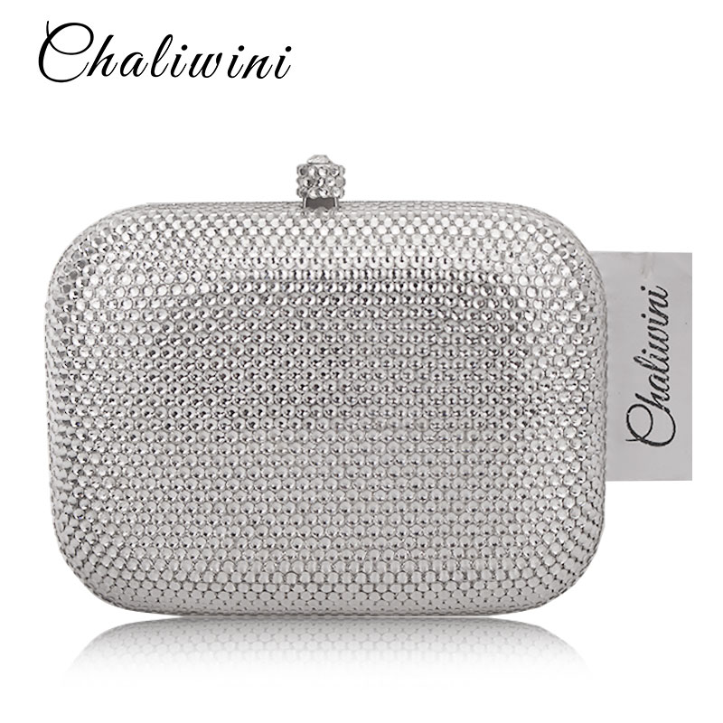 Women Flower Hollow Out Peach Champagne Crystal Rhinestone Evening Clutch Bag Wedding Bridal Metal Handbag Clutches