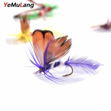 YeMuLang 12piece Artificial Fly Tying Material Fly Fishing Lure Dry/Wet Flies Bait Lure With Feathers For Fishing Carp Pesca
