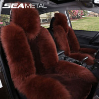 Car Seat Cover Universal Long Wool Winter Sheepskin Fur Cushion Front Seat Natural Covers Car Styling
