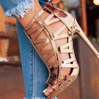 DiJiGirls Women Gladiator Roman Sandals Summer Peep Toe Ankle Boots Cut Out Bootie Champange Metallic Faux