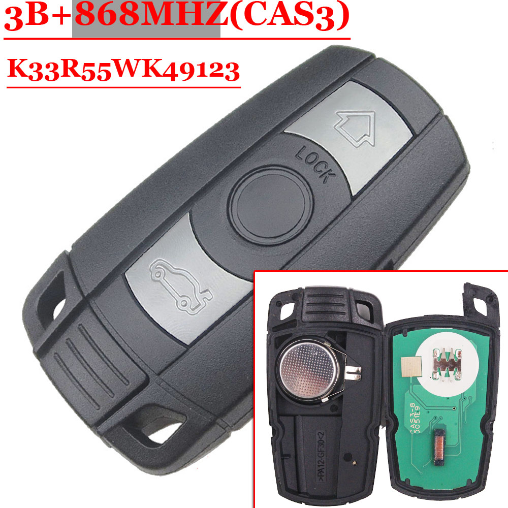 Free Shipping(1 Piece)New Remote Car Key Fob Card 868MHz ID7944 Chip CAS3 System For BMW CAS3 E60.E61.E90.E92.E93.E70.71.72
