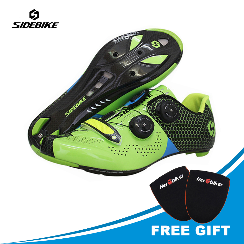 Sidebike Road Cycling Shoes Carbon Fiber Road Bike Shoes Self-Locking Athletic Bicycle Shoe Cycling Road Sneakers Sport Shoes sidebike mens road cycling shoes breathable road bicycle bike shoes black green 4 color self locking zapatillas ciclismo 2016