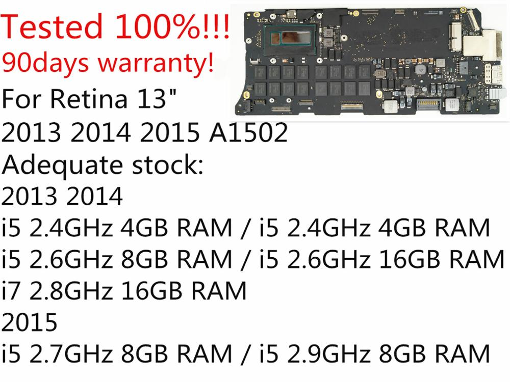 Orignal i5 2.6GHz 8GB i7 2.8GHz 16GB Logic Board for MacBook Pro Retina 13 A1502 Motherboard 661 8146 820 3476 A 2013 2014