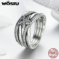 WOSTU 2017 Hot Sale Real 925 Sterling Silver Delicate Sentiments Stars Finger Rings For Women Jewelry Gift DXR050