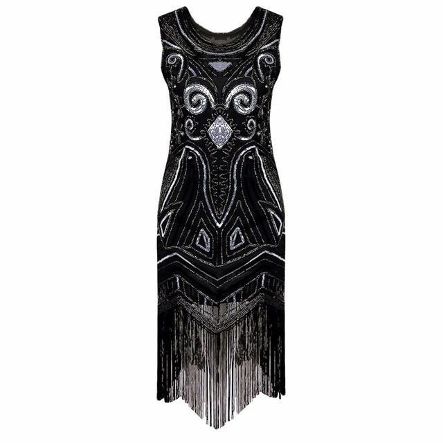 Women Black 1920s Vintage Gatsby Flapper Dress Art Nouveau Deco Sequin  Beaded Fringe Fancy Costumes Summer 8115ddeec51a
