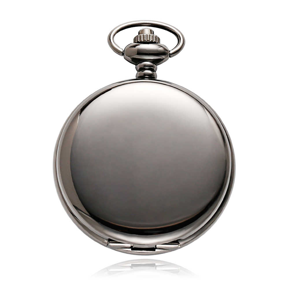 OUYAWEI montre de poche Vintage boîtier noir cadran creux Phase de lune fonction main vent mécanique montre Fob