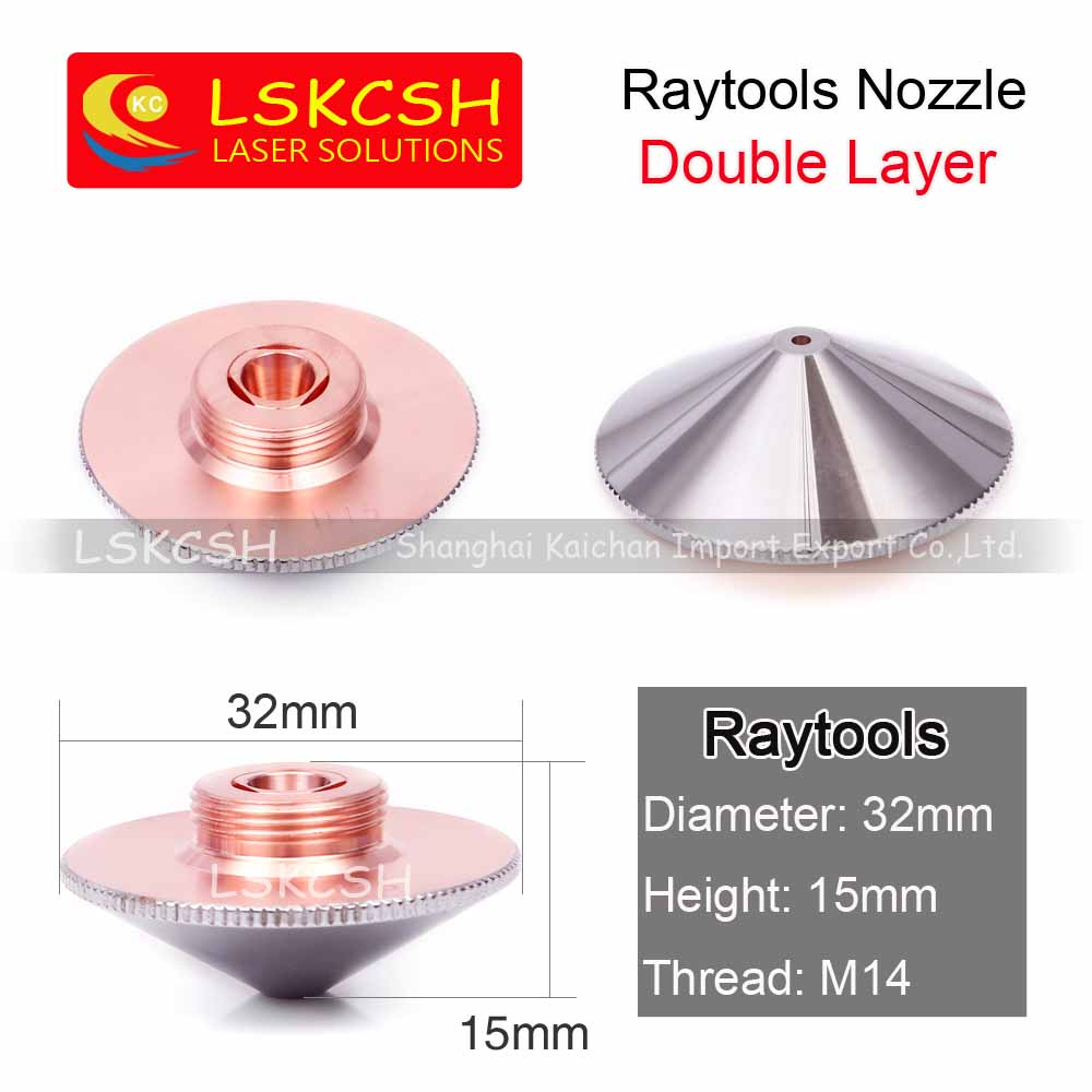 LSKCSH Laser Buse Simple Couche/Double Couches Dia.32mm Calibre 0.8-5.0mm pour bodor raytools laser conusmables gros