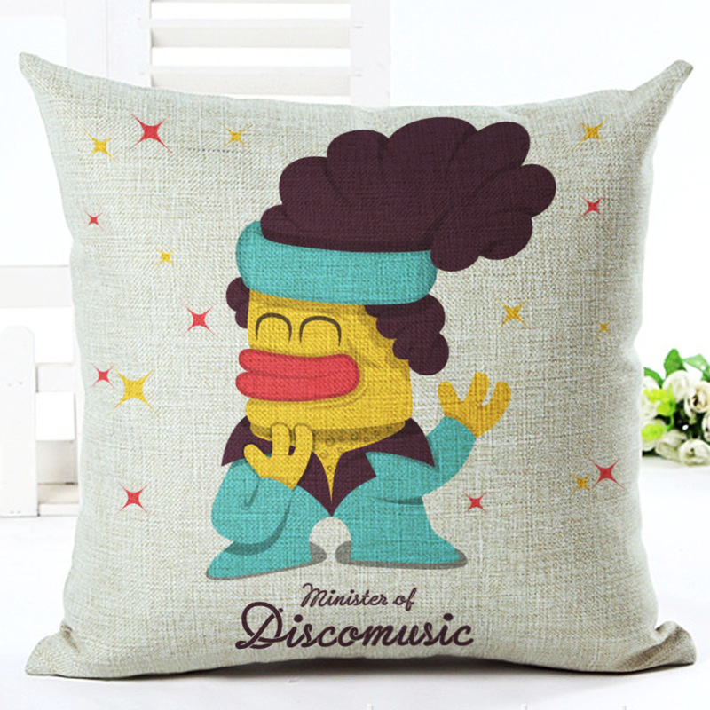 Cartoon Square Pillow Case Bedding Cushion Cover For Car Seat Office Sofa Home Decor 45x45cm without Pillow Core F