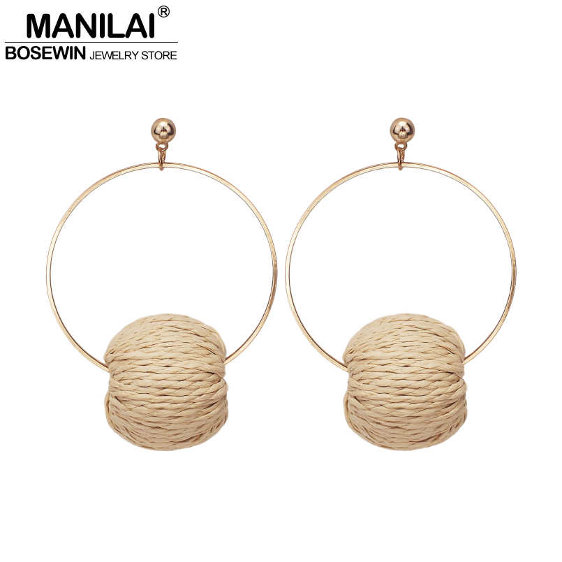 MANILAI Straw Weave Rattan Ball Dangle Earrings Woman Fashion Jewelry Wood Vine Braid Round Statement Earrings Accessories