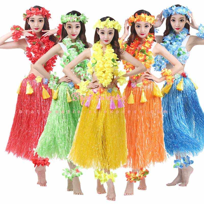 Hawaiian Party Decorations Flower Necklace Wreath Adults Beach Hula Skrit  Dress Kids Girls Costume Summer Aloha Party Supplies