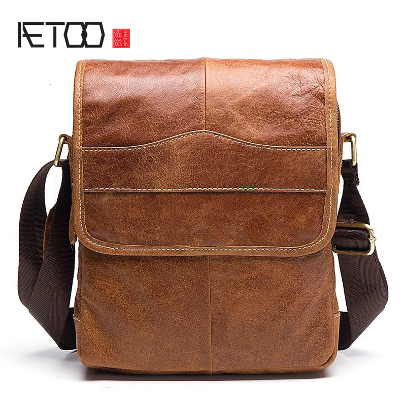 AETOO 2017 new shoulder bag retro leisure men first layer leather flip Messenger bag leather male bag aetoo 2017 new 100% cow leather shoulder bag retro vertical paragraph square bag new leather leisure travel messenger bag women