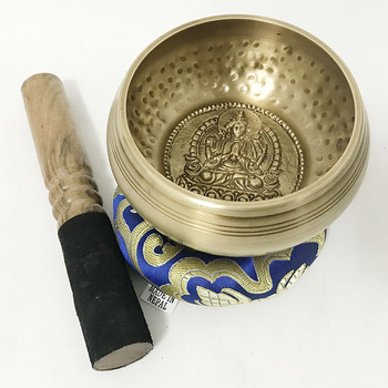 2019 New Arrival styl buddy wysokiej jakości ręcznie młotkowany wzór buddy tybet misa dźwiękowa tanie i dobre opinie Buddyzm Indie Metal BuddhaTibetan Singing Bowl Brass 10 5cm Doecor Mediation physical therapy Wood Stick Buddha Style