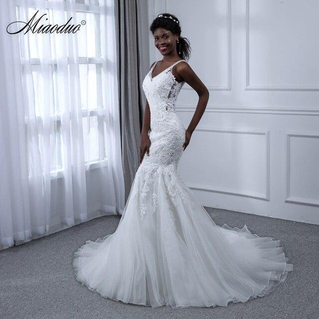 Miaoduo Wedding Dress Dream Angel Elegant Appliques Lace Mermaid V ...